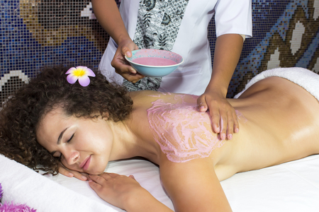 female beauty: Woman processes Thai massage in the spa salon Stock Photo