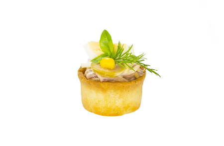 girdle: mini canape with meat and vegetables on a white background seafood