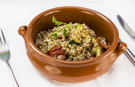 whole pecans: Quinoa porridge with vegetables and meat