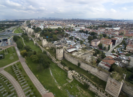 castle district: Aerophotographing walls of Theodosius in Istanbul
