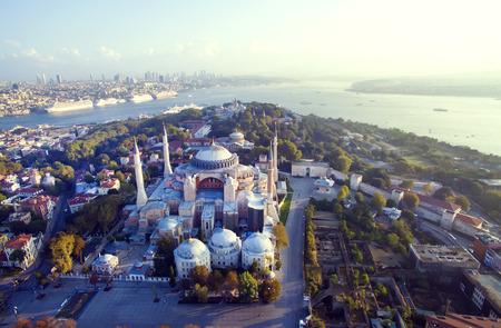 aya sofia: Aya Sofia and Istanbul panorama aerial view Stock Photo