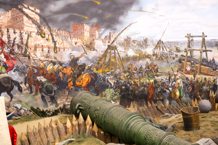 the turks: ISTANBUL, TURKEY - OCTOBER 14, 2015: Fall of Constantinople in 1453. Captured by Mehmet. Panorama Museum Military, Istanbul, Turke