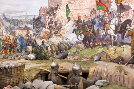 constantinople: ISTANBUL, TURKEY - OCTOBER 14, 2015: Fall of Constantinople in 1453. Captured by Mehmet. Panorama Museum Military, Istanbul, Turke
