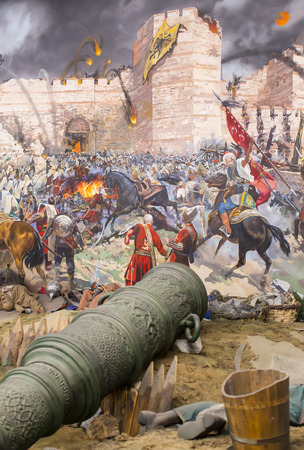 mehmet: ISTANBUL, TURKEY - OCTOBER 14, 2015: Fall of Constantinople in 1453. Captured by Mehmet. Panorama Museum Military, Istanbul, Turke