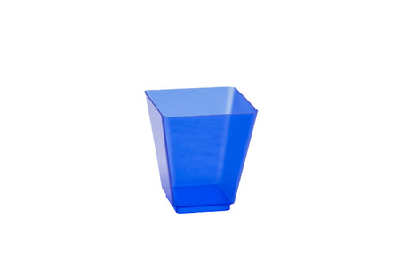 canapes: plastic cups for food and canapes on a white background Stock Photo