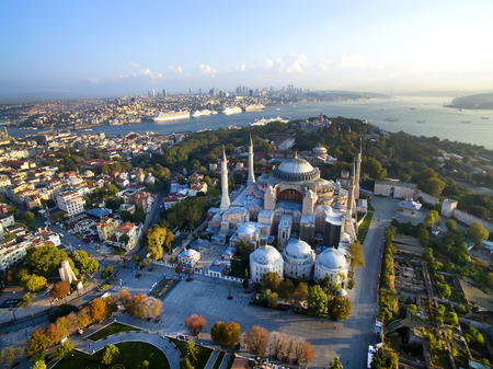 constantinople ancient: Aya Sofia and Istanbul panorama aerial view Stock Photo