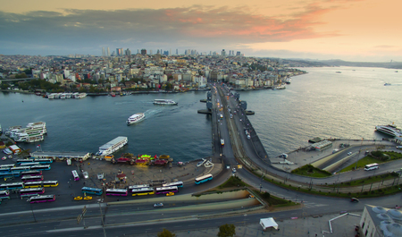 istanbul beach: Panorama of Istanbul aerial view Stock Photo