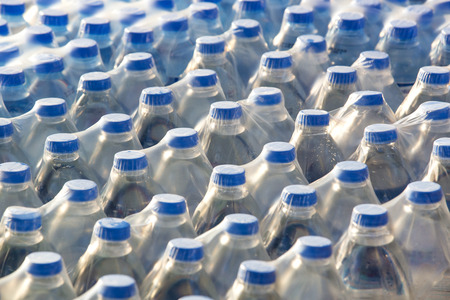 lot of plastic packaging of mineral water
