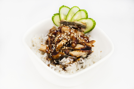grig: rice with eel meat on a white background Stock Photo