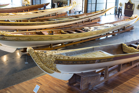galley: ISTANBUL, TURKEY - 3 APRIL, 2016: Maritime Museum in Istanbul stabbing ancient boats Turkish sultans