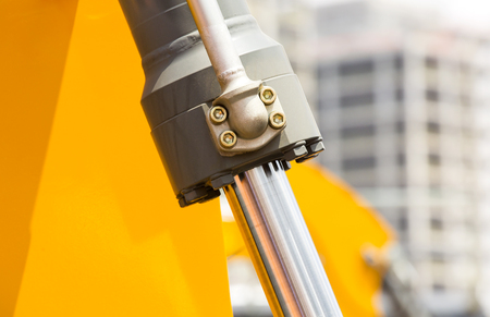 hydraulic: chrome-plated hydraulic mechanism close-up shot Braid Mechanical