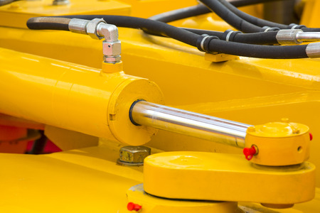 chromeplated: chrome-plated hydraulic mechanism close-up shot Braid Mechanical