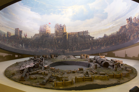 diorama: ISTANBUL, TURKEY - JUNE 6, 2016: Fall of Constantinople in 1453. Captured by Mehmet. Panorama Museum Military, Istanbul, Turke