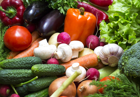 antioxidants: Background of fresh vegetables and greens closeup