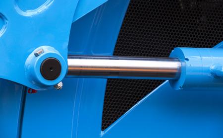 hydraulic: chrome-plated hydraulic mechanism close-up shot Stock Photo