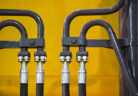 chromeplated: chrome-plated hydraulic mechanism close-up shot Stock Photo