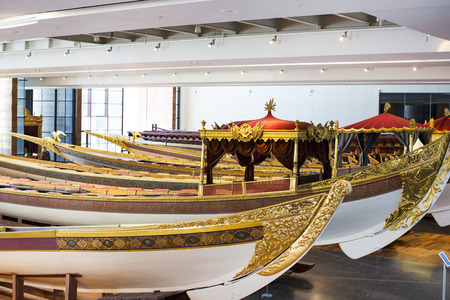 ISTANBUL, TURKEY - 3 APRIL, 2016: Maritime Museum in Istanbul stabbing ancient boats Turkish sultans