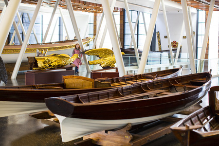 stabbing: ISTANBUL, TURKEY - 3 APRIL, 2016: Maritime Museum in Istanbul stabbing ancient boats Turkish sultans