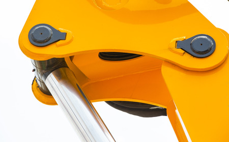 chrome-plated hydraulic mechanism close-up shot Stock Photo
