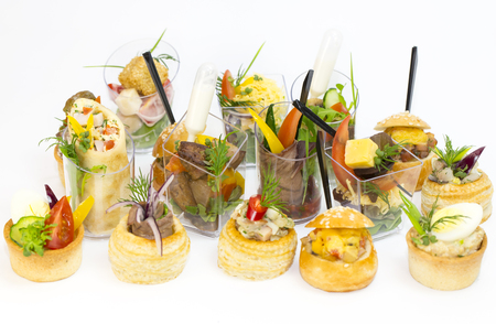 mini canape with meat and vegetables in plastic cups stock photo 65010988 - Mini Canape