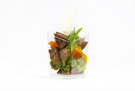 girdle: Mini Canape with meat and vegetables in plastic cups