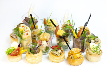 girdle: Mini Canape with meat and vegetables Stock Photo
