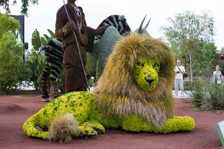 Antalya, Turkey - 5, OCT, 2016. Statues Animals Insects and humans made from plants and herbs. Botanic Expo 2016. Turkey - 2016