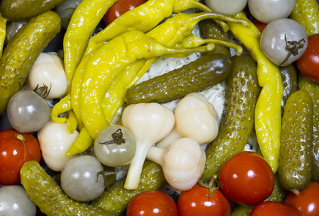pickled vegetables, cucumber tomatoes asparagus and garlic cabbage Stok Fotoğraf