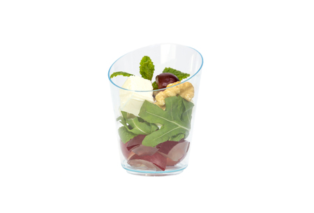 small size desserts and meat canapes vegetable snacks in plastic cups canaps