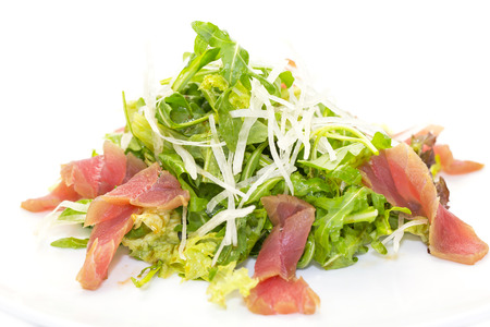 Salad with tuna meat and vegetables green