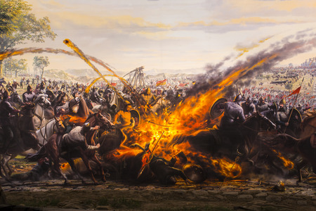 ISTANBUL, TURKEY - JUNE 6, 2016: Fall of Constantinople in 1453. Captured by Mehmet. 1453 Panorama Museum, Istanbul, Turke Редакционное