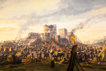 ISTANBUL, TURKEY - JUNE 6, 2016: Fall of Constantinople in 1453. Captured by Mehmet. 1453 Panorama Museum, Istanbul, Turke Editoriali