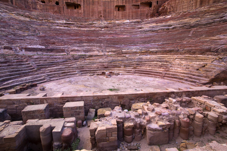 caved: Ancient abandoned rock city of Petra in Jordan tourist attraction Editorial