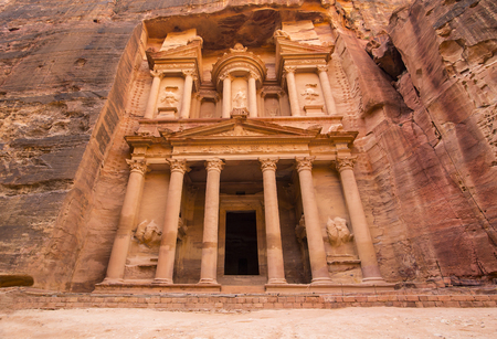 nabatean: Ancient abandoned rock city of Petra in Jordan tourist attraction Stock Photo