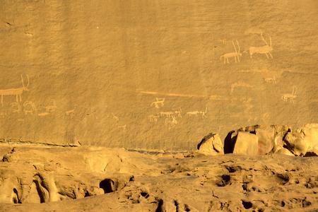 Rock carvings on rocks in the desert of Wadi Rum