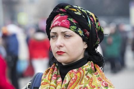 KHARKOV, UKRAINE- FEBRUARY 26, 2017: Traditional celebration carnival costume show in the town square.Kharkov. Ukraine-2017