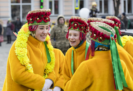 KHARKOV, UKRAINE- FEBRUARY 26, 2017: Traditional celebration carnival costume show in the town square.Kharkov. Ukraine-2017