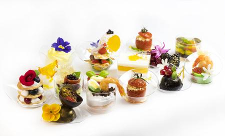 mini canape with elements of molecular kitchen on white background stock photo 75781603 - Mini Canape