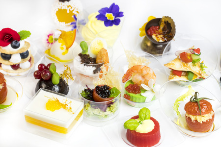 mini canape with elements of molecular kitchen on white background stock photo 75781605 - Mini Canape