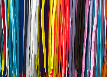 shoelace: Background of colored shoe laces photo close-up Stock Photo