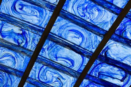 Background blue plastic design shot close-up