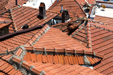 attic: Roof tiles of old houses in Turkey
