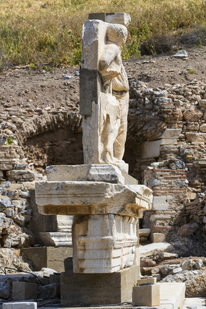 The ruins of the ancient antique city of Ephesus the library building of Celsus