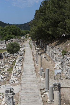 efeso: The ruins of the ancient antique city of Ephesus the library building of Celsus