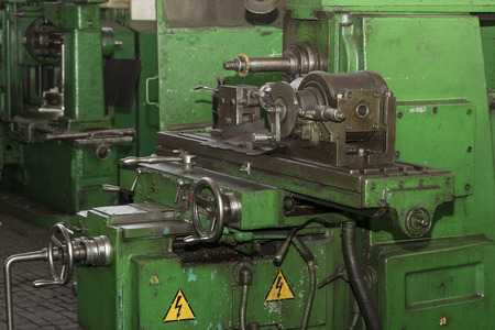 Metalworking machines working mechanisms are shot close-up Stock Photo
