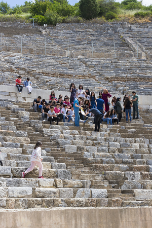 archaeological: EPHESUS, TURKEY - 6 MAY, 2017: The ruins of the ancient antique city of Ephesus, the library of Celsus, the amphitheater temples and columns. Candidate for the UNESCO World Heritage List