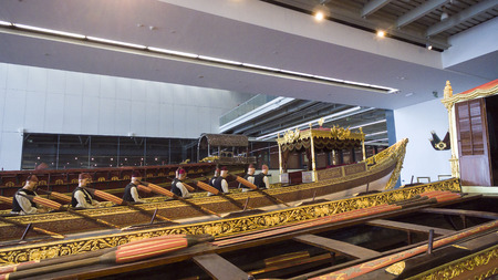 shipbuilding: ISTANBUL, TURKEY - 3 APRIL, 2016: Maritime Museum in Istanbul stabbing ancient boats Turkish sultans
