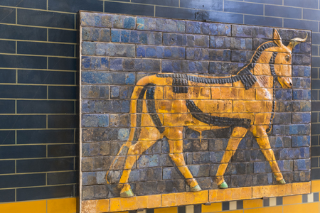 iraq: Elements of the Antiquity of the Babylonian Wall with Animal Mosaic Editorial