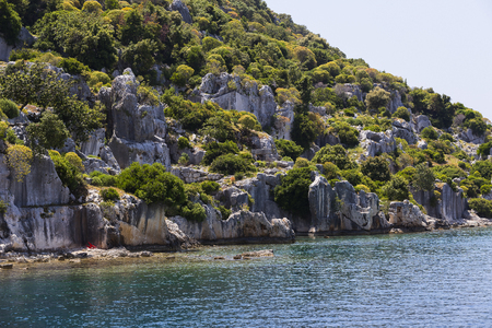 the sunken: Flooded ancient Lycian city as a result of the earthquake city. Near the city of Simena in the vicinity of Kekova Turkey. Stock Photo