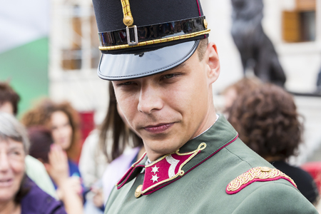 BUDAPEST, HUNGARY - 20 AUGUST 2017: Parade performance of the Hungarian Guard in front of tourists near the parliament in Budapest